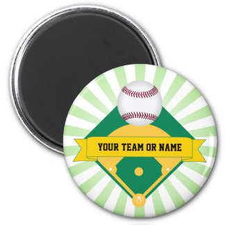 Green Baseball Field with Custom Team Name 2 Inch Round Magnet