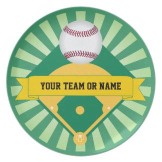 Green Baseball Field with Custom Team Name Dinner Plate