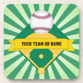 Green Baseball Field with Custom Team Name Drink Coaster