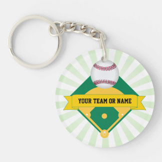 Green Baseball Field with Custom Team Name Keychain