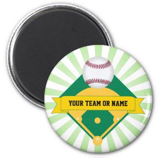 Green Baseball Field with Custom Team Name Magnet