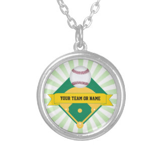 Green Baseball Field with Custom Team Name Silver Plated Necklace