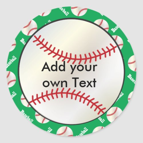 Green Baseball Party Seals   Personalize