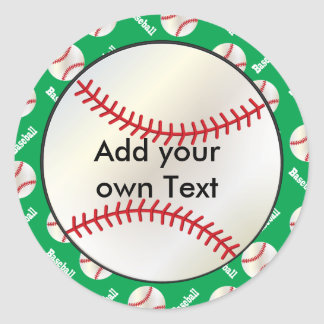 Green Baseball Party Seals  | Personalize Classic Round Sticker