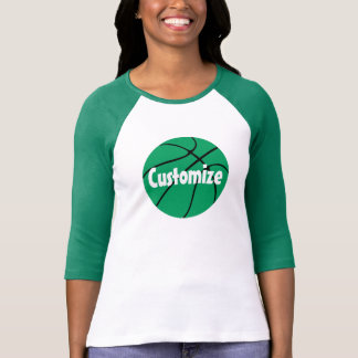 Green Basketball Custom 3/4 Sleeve Raglan T-shirt