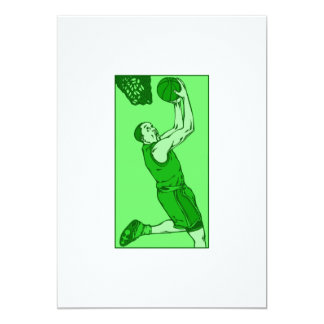Green basketball dunk card
