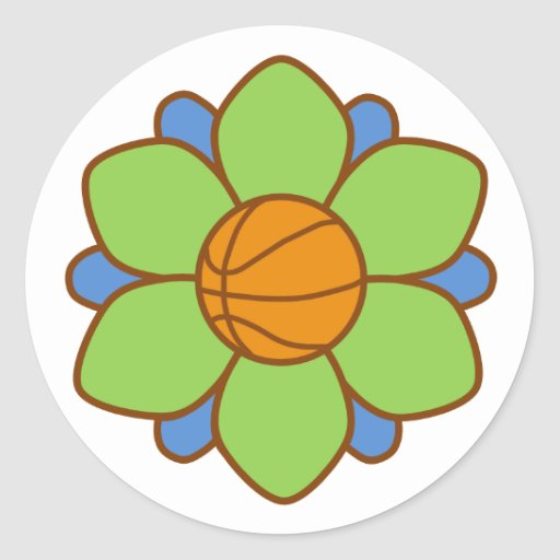 Green Basketball Girl Round Sticker
