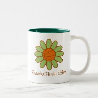 Green Basketball Girl Two-Tone Coffee Mug