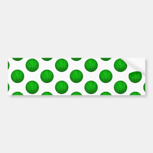 Green Basketball Pattern Bumper Sticker