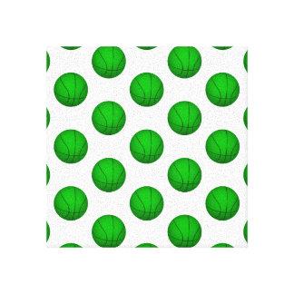 Green Basketball Pattern Canvas Print