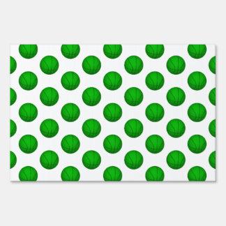 Green Basketball Pattern Lawn Signs