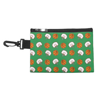 Green basketballs and nets pattern accessory bags