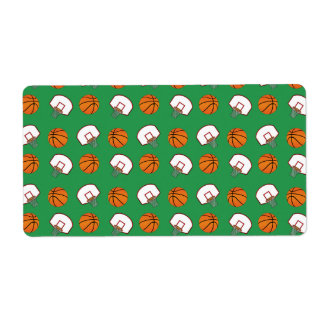 Green basketballs and nets pattern custom shipping labels