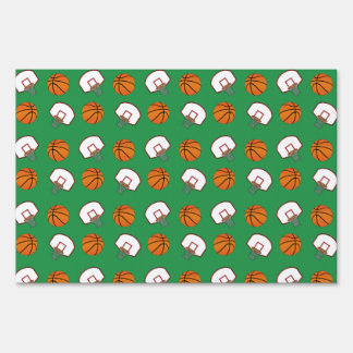 Green basketballs and nets pattern signs