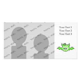 Green Bat Wearing a Hat. Photo Card