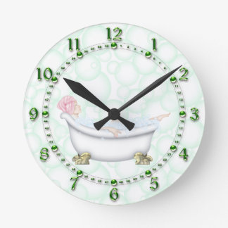 Green Bathroom Bubbles Round Wall Clock