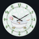 "Green Bathroom Shiny Numbers Bubbles Large Clock<br><div class=""desc"">Just right for the bathroom this bubble filled and relaxing bath soak scene is in shades of green with green shiny numerals and accents. artwork&#169;Delightful-Doodles</div>"