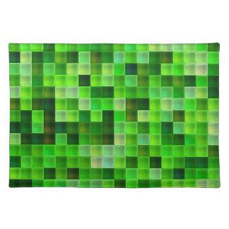 Green Bathroom Tile Squares pattern Place Mats