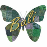 """Green Batik Patchwork Butterfly Magnet<br><div class=""""desc"""">Photo sculpture magnet of a patchwork batik butterfly in various prints and shades of green with a bit of purple. """"Bali"""" is printed across it in gold script. Stick this magnet on your refrigerator for a small Bali Retreat party prop or give as a party favor. See the entire Bali...</div>"""