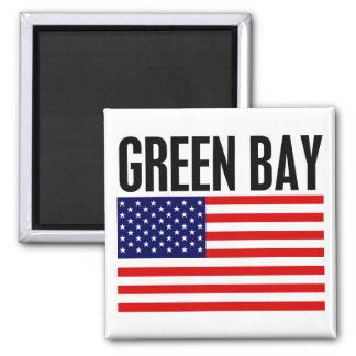Green Bay, barras y estrellas Imán Cuadrado