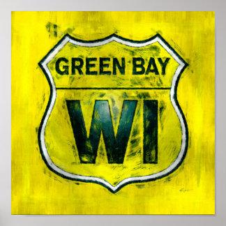 Green Bay escudo amarillo y verde de Wisconsin del Posters