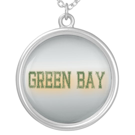 Green Bay Green and Gold Grunge Silver Plated Necklace