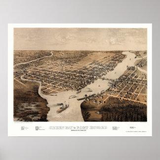 Green Bay, mapa panorámico de los WI - 1867 Póster