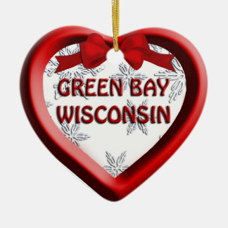 Green Bay Wisconsin Heart Christmas Ornament
