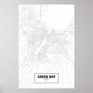Green Bay, Wisconsin (negro en blanco) Póster