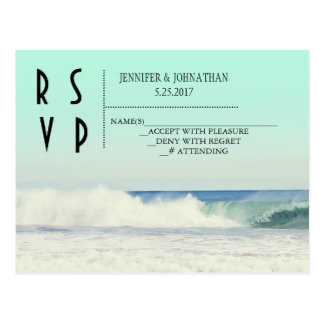 Green beach destination wedding invitations postcard