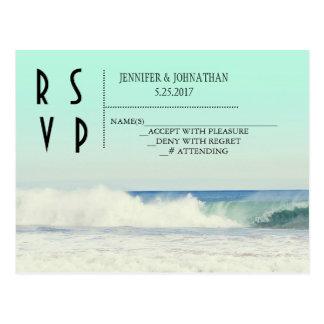 Green beach destination wedding invitations postcard