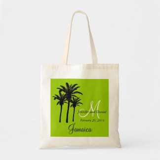 Green Beach Wedding Tote Bag with Palm Trees