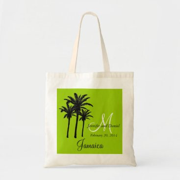 Beach Themed Green Beach Wedding Tote Bag with Palm Trees