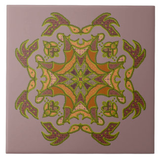Green Beaded Patchwork Motif Ceramic Tile