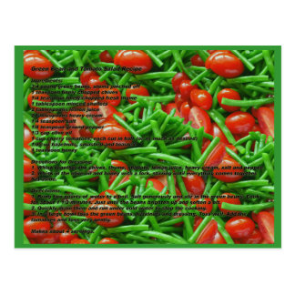Green Bean and Tomatoes Recipe Postcard