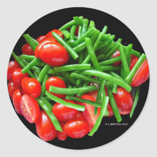 Green Bean and Tomatoes Round Sticker