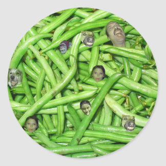 Green Bean Heads! Round Stickers