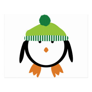 Green Beanie Penguin Postcard