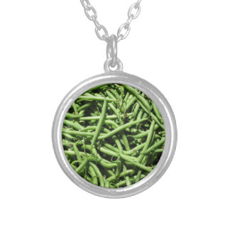 Green beans background personalized necklace