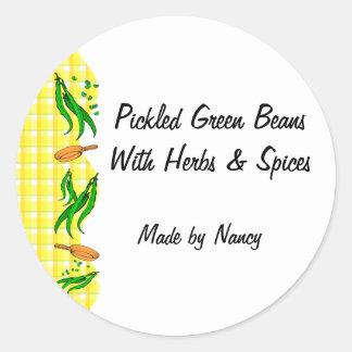 Green Beans Yellow Checks Custom Canning Labels