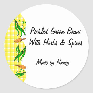 Green Beans Yellow Checks Custom Canning Labels Round Sticker