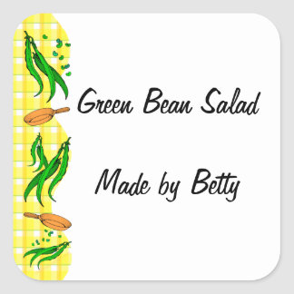 Green Beans Yellow Checks Custom Canning Stickers