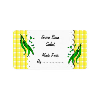 Green Beans Yellow Plaid Retro Food Labels
