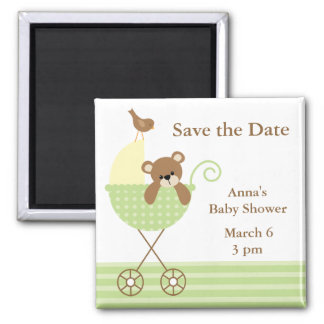 Green Bear Baby Shower Save the Date 2 Inch Square Magnet