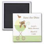 Green Bear Baby Shower Save the Date Refrigerator Magnet