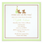 Green Bears Twins Baby Shower Personalized Announcement