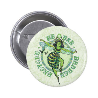 Green Bee Earthday by Mudge Studios Pinback Buttons