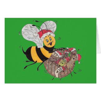Green 'Bee Merry' Christmas Card