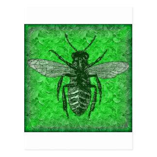 green bee postcard