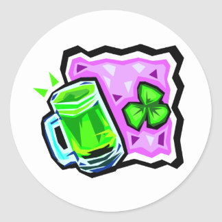 Green Beer and Rocks Classic Round Sticker
